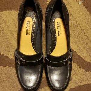 Kenneth Cole Reaction black leather slip-on wedge